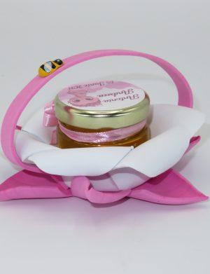 Marturii dulci cu miere, model handmade Bondarel – roz, borcan 30 gr – DSBC198