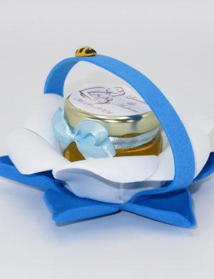Marturii dulci cu miere, model handmade Bondarel – albastru bleu, borcan 30 gr – DSBC1916