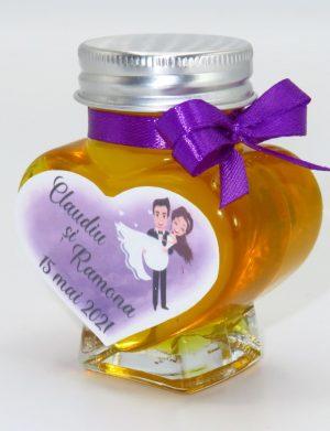 "Marturii dulci cu miere, model handmade ""Iubireâ€� – mov, borcan 90 gr – DSBC1634"
