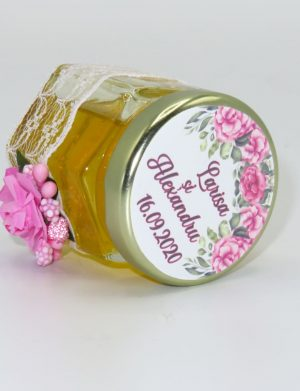"Marturii dulci cu miere, model handmade ""Adiereâ€� – roz, borcan 50 gr  – DSBC1636"