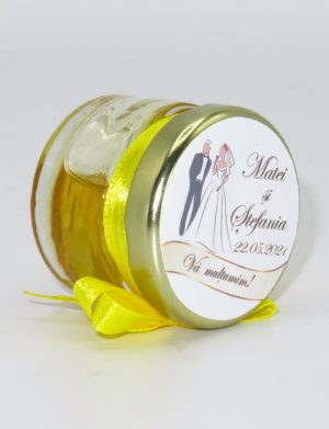 "Marturii dulci cu miere, model handmade ""Iubireâ€� – galben, borcan 30 gr – DSBC1640"