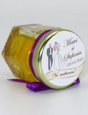 "Marturii dulci cu miere, model handmade ""Iubireâ€� – mov, borcan 50 gr  – DSBC1641"