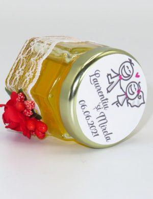 """Marturii dulci cu miere, model handmade """"Adiereâ€� – rosu, borcan 50 gr  – DSBC1642"""