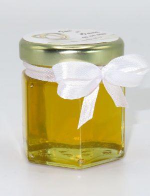 Marturii dulci cu miere, model handmade Iubire – alb, borcan 50 gr – DSBC1646