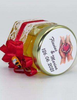 "Marturii dulci cu miere, model handmade ""Rafinamentâ€� – rosu, borcan 50 gr  – DSBC16147"