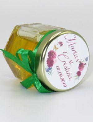 """Marturii dulci cu miere, model handmade """"Iubireâ€� – verde, borcan 50 gr  – DSBC1649"""