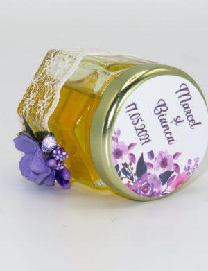 "Marturii dulci cu miere, model handmade ""Adiereâ€� – mov, borcan 50 gr – DSBC1652"
