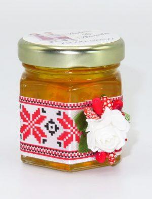 Marturii dulci cu miere, model handmade Traditional – rosu, borcan 50 gr – DSBC1651
