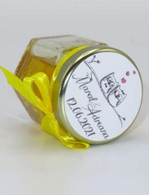 "Marturii dulci cu miere, model handmade ""Iubireâ€� – galben, borcan 50 gr  – DSBC1656"