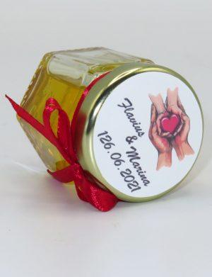 """Marturii dulci cu miere, model handmade """"Iubireâ€� – rosu, borcan 50 gr – DSBC1657"""