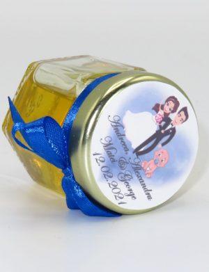 """Marturii dulci cu miere, model handmade """"Iubireâ€� – albastru, borcan 50 gr – DSBC1660"""
