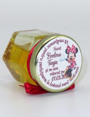 """Marturii dulci cu miere, model handmade """"Iubireâ€� – rosu, borcan 50 gr– DSBC167"""