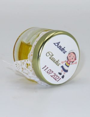 "Marturii dulci cu miere, model handmade ""Eleganta� – alb, borcan 30 gr – DSBC1613"