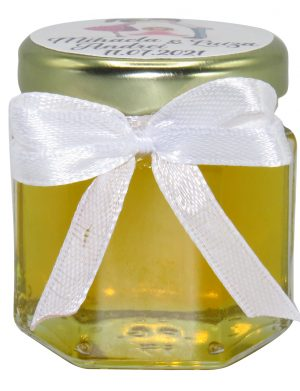 Marturii dulci cu miere, model handmade Iubire – alb, borcan 50 gr – DSBC1666