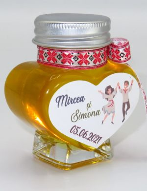 "Marturii dulci cu miere, model handmade ""Voie bunaâ€� – traditional rosu, borcan 90 gr  – DSBC1626"