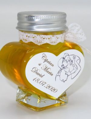 "Marturii dulci cu miere, model handmade ""Elegantaâ€� – alb, borcan 90 gr – DSBC1663"