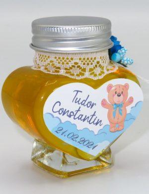 Marturii dulci cu miere, model handmade Adiere – albastru, borcan 90 gr – DSBC1616