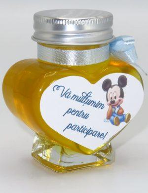 "Marturii dulci cu miere, model handmade ""Iubireâ€� – bleo baby Mickey, borcan 90 gr – DSBC1614"