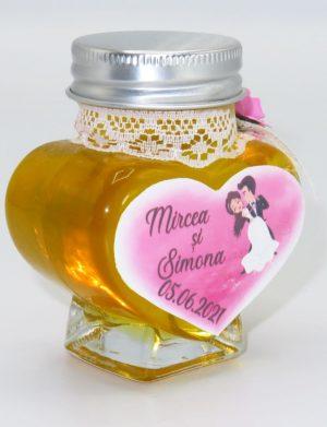 "Marturii dulci cu miere, model handmade ""Adiereâ€� – roz, borcan 90 gr – DSBC1624"