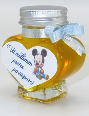 "Marturii dulci cu miere, model handmade ""Iubire"" – bleo baby Mickey, borcan 90 gr – SDSBC1614"