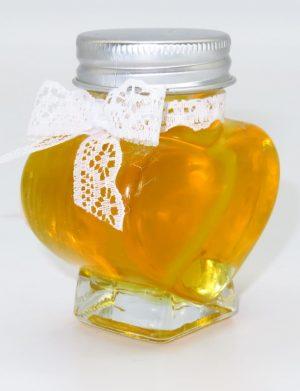 Marturii dulci cu miere, model handmade Eleganta – alb, borcan 90 gr – DSBC1618