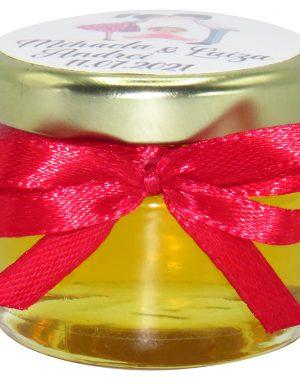 """Marturii dulci cu miere, model handmade """"Iubireâ€� – rosu, borcan 30 gr – DSBC1668"""