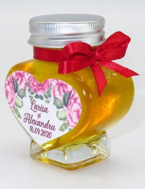 """Marturii dulci cu miere, model handmade """"Iubireâ€� – rosu, borcan 90 gr  – DSBC1631"""
