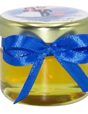 """Marturii dulci cu miere, model handmade """"Iubireâ€� – albastru, borcan 30 gr – DSBC1669"""