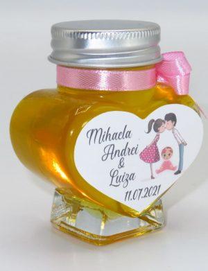 "Marturii dulci cu miere, model handmade ""Iubireâ€� – roz, borcan 90 gr – DSBC1664"