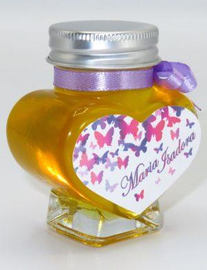 Marturii dulci cu miere, model handmade Iubire – lila, borcan 90 gr – DSBC1622