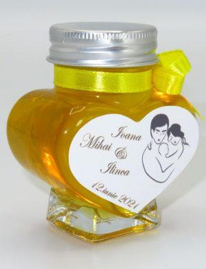 "Marturii dulci cu miere, model handmade ""Iubireâ€� – galben, borcan 90 gr – DSBC1665"