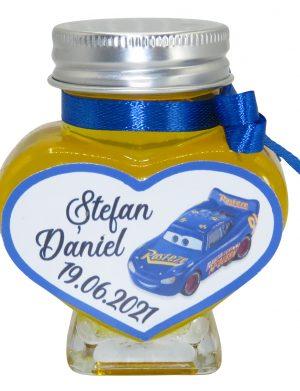 """Marturii dulci cu miere, model handmade """"Iubireâ€� – albastru, borcan 90 gr – DSBC1628"""