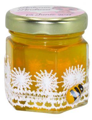 "Marturii dulci cu miere, model handmade ""Dorinta� – alb, borcan 50 gr – DSBC169"