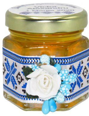 "Marturii dulci cu miere, model handmade ""Traditional� – albastru, borcan 50 gr– DSBC1611"