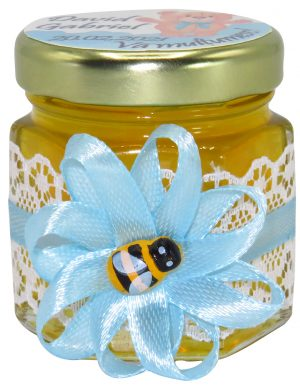 "Marturii dulci cu miere, model handmade ""Rafinamentâ€� – bleo, borcan 50 gr  – DSBC1612"