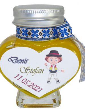 """Marturii dulci cu miere, model handmade """"Voie buna� – traditional albastru, borcan 90 gr – DSBC1615"""