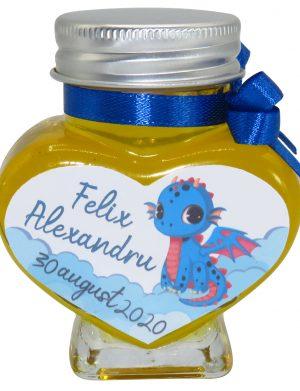 """Marturii dulci cu miere, model handmade """"Iubireâ€� – albastru, borcan 90 gr – DSBC1620"""