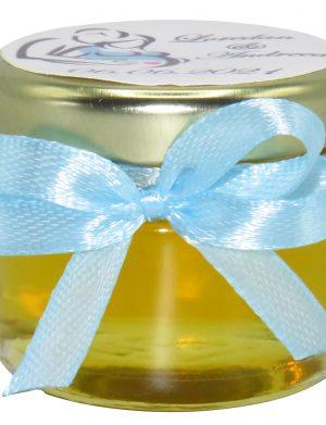 """Marturii dulci cu miere, model handmade """"Iubireâ€� – bleo, borcan 30 gr – DSBC1623"""