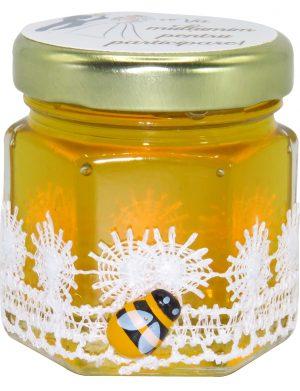 "Marturii dulci cu miere, model handmade ""Dorinta"" – alb, borcan 50 gr – SDSBC1625"