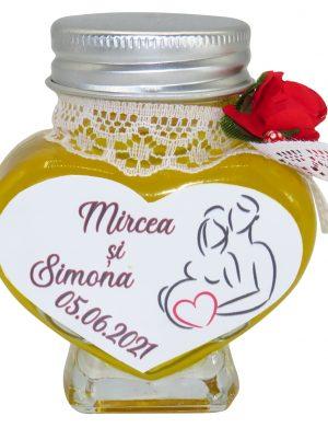 """Marturii dulci cu miere, model handmade """"Adiereâ€� – rosu, borcan 90 gr – DSBC1627"""