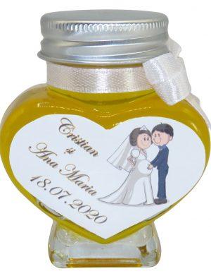 "Marturii dulci cu miere, model handmade ""Iubireâ€� – alb, borcan 90 gr  – DSBC1629"