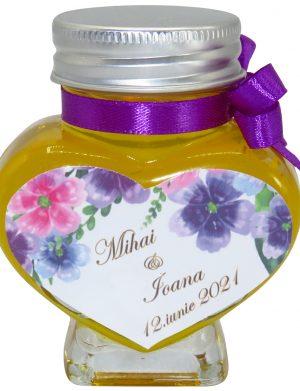 "Marturii dulci cu miere, model handmade ""Iubireâ€� – mov, borcan 90 gr – DSBC1630"