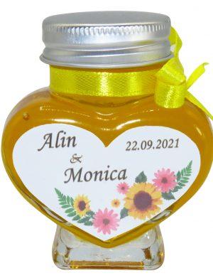 "Marturii dulci cu miere, model handmade ""Iubireâ€� – galben, borcan 90 gr  – DSBC1632"