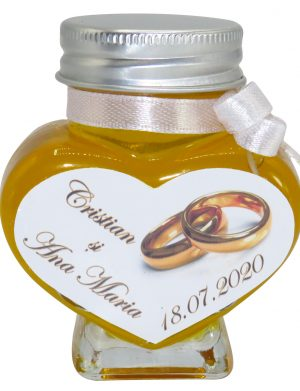 "Marturii dulci cu miere, model handmade ""Iubireâ€� – alb, borcan 90 gr– DSBC1635"