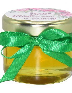 """Marturii dulci cu miere, model handmade """"Iubireâ€� – verde, borcan 30 gr– DSBC1637"""