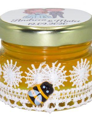 "Marturii dulci cu miere, model handmade ""Dorintaâ€� – alb, borcan 30 gr– DSBC1638"