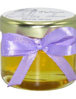 """Marturii dulci cu miere, model handmade """"Iubireâ€� – lila, borcan 30 gr  – DSBC1639"""