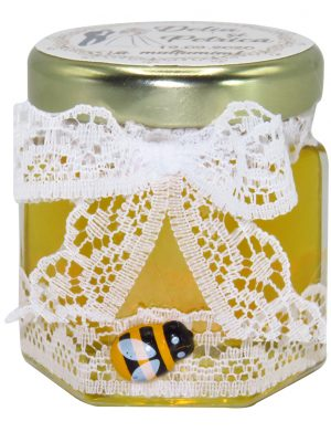 Marturii dulci cu miere, model handmade Eleganta – alb, borcan 50 gr – DSBC1643