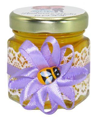 "Marturii dulci cu miere, model handmade ""Rafinamentâ€� – lila, borcan 50 gr  – DSBC1644"