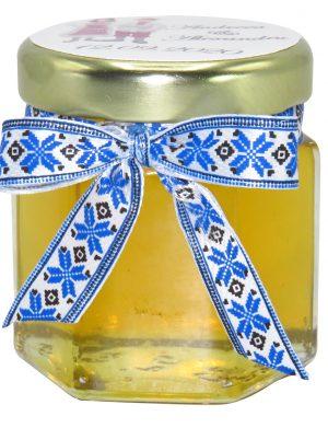 "Marturii dulci cu miere, model handmade ""Voie bunaâ€� – traditional albastru, borcan 50 gr – DSBC1645"